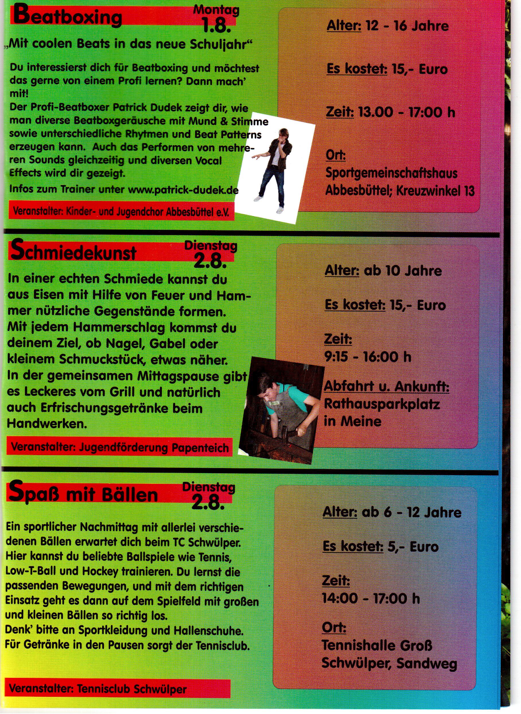 Ferienprogramm der Gemeinde Meine / Papenteich | Falk Laxander